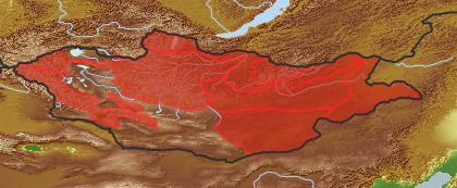 taxon distribution for Artemisia commutata acc. to Geobotanical Regions of Mongolia by Grubov (1955)