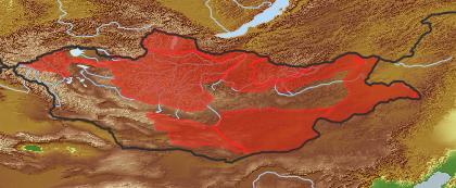 taxon distribution for Arabis pendula acc. to Geobotanical Regions of Mongolia by Grubov (1955)