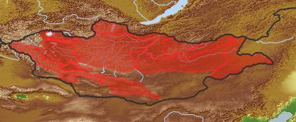 taxon distribution for Papaver rubro-aurantiacum acc. to Geobotanical Regions of Mongolia by Grubov (1955)