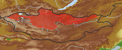 taxon distribution for Vaccinium uliginosum acc. to Geobotanical Regions of Mongolia by Grubov (1955)