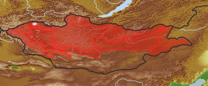 taxon distribution for Artemisia monostachya acc. to Geobotanical Regions of Mongolia by Grubov (1955)