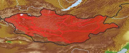 taxon distribution for Iris potaninii acc. to Geobotanical Regions of Mongolia by Grubov (1955)
