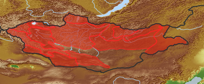 taxon distribution for Artemisia rutifolia acc. to Geobotanical Regions of Mongolia by Grubov (1955)