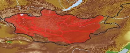 taxon distribution for Artemisia pycnorhiza acc. to Geobotanical Regions of Mongolia by Grubov (1955)