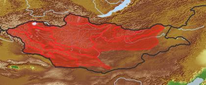 taxon distribution for Taraxacum leucanthum acc. to Geobotanical Regions of Mongolia by Grubov (1955)