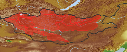 taxon distribution for Atragene  acc. to Geobotanical Regions of Mongolia by Grubov (1955)