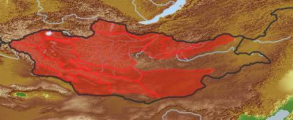 taxon distribution for Salix ledebouriana acc. to Geobotanical Regions of Mongolia by Grubov (1955)