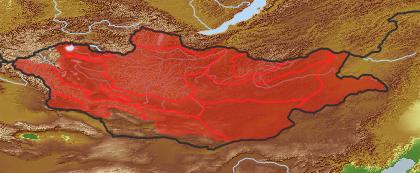 taxon distribution for Allium leucocephalum acc. to Geobotanical Regions of Mongolia by Grubov (1955)