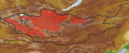 taxon distribution for Senecio praticola acc. to Geobotanical Regions of Mongolia by Grubov (1955)