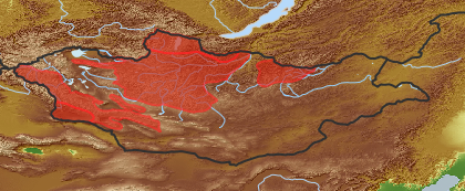 taxon distribution for Saussurea involucrata acc. to Geobotanical Regions of Mongolia by Grubov (1955)