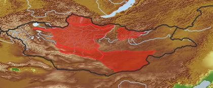 taxon distribution for Taraxacum bicorne acc. to Geobotanical Regions of Mongolia by Grubov (1955)