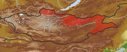 taxon distribution for Duschekia  acc. to Geobotanical Regions of Mongolia by Grubov (1955)