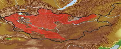 taxon distribution for Lithosciadium multicaule acc. to Geobotanical Regions of Mongolia by Grubov (1955)