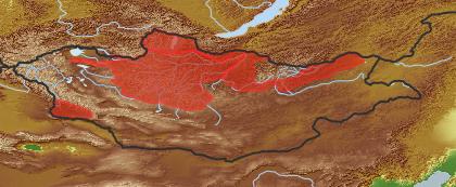 taxon distribution for Salix triandra acc. to Geobotanical Regions of Mongolia by Grubov (1955)