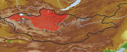 taxon distribution for Salix recurvigemmis acc. to Geobotanical Regions of Mongolia by Grubov (1955)