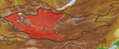 taxon distribution for Artemisia argyrophylla acc. to Geobotanical Regions of Mongolia by Grubov (1955)