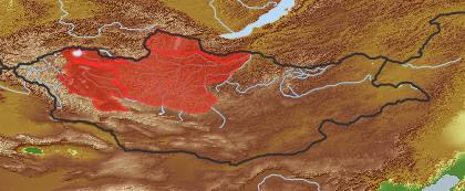 taxon distribution for Nymphaea tetragona acc. to Geobotanical Regions of Mongolia by Grubov (1955)