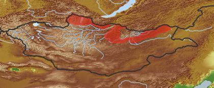taxon distribution for Ledum decumbens acc. to Geobotanical Regions of Mongolia by Grubov (1955)