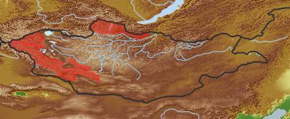 taxon distribution for Juncus biglumis acc. to Geobotanical Regions of Mongolia by Grubov (1955)