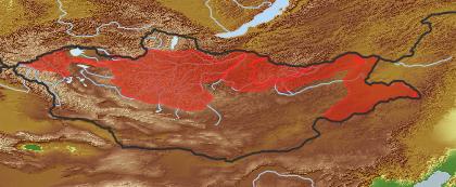 taxon distribution for Saposhnikovia divaricata acc. to Geobotanical Regions of Mongolia by Grubov (1955)