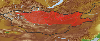 taxon distribution for Saussurea salicifolia acc. to Geobotanical Regions of Mongolia by Grubov (1955)