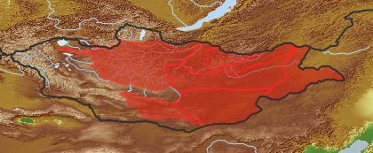 taxon distribution for Spiraea aquilegiifolia acc. to Geobotanical Regions of Mongolia by Grubov (1955)