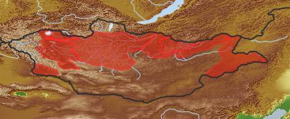 taxon distribution for Alisma plantago-aquatica acc. to Geobotanical Regions of Mongolia by Grubov (1955)