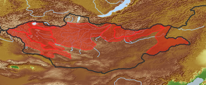 taxon distribution for Senecio erucifolius acc. to Geobotanical Regions of Mongolia by Grubov (1955)