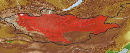 taxon distribution for Kadenia salina acc. to Geobotanical Regions of Mongolia by Grubov (1955)