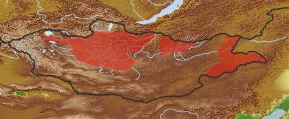 taxon distribution for Senecio cannabifolius acc. to Geobotanical Regions of Mongolia by Grubov (1955)