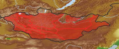 taxon distribution for Artemisia santolinifolia acc. to Geobotanical Regions of Mongolia by Grubov (1955)