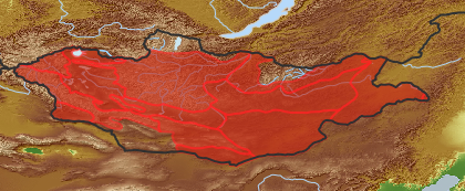 taxon distribution for Chenopodium acuminatum acc. to Geobotanical Regions of Mongolia by Grubov (1955)