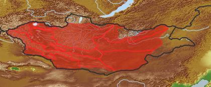 taxon distribution for Allium vodopjanovae acc. to Geobotanical Regions of Mongolia by Grubov (1955)