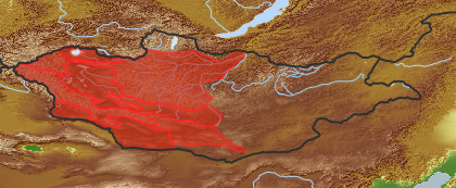 taxon distribution for Asterothamnus poliifolius acc. to Geobotanical Regions of Mongolia by Grubov (1955)