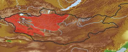 taxon distribution for Allium bogdoicolum acc. to Geobotanical Regions of Mongolia by Grubov (1955)