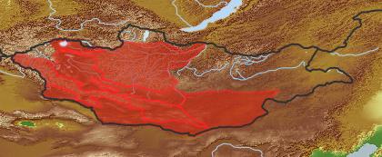 taxon distribution for Arnebia guttata acc. to Geobotanical Regions of Mongolia by Grubov (1955)