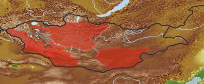 taxon distribution for Taraxacum monochlamydeum acc. to Geobotanical Regions of Mongolia by Grubov (1955)