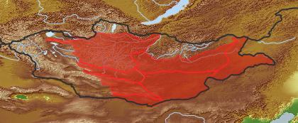taxon distribution for Ajania trifida acc. to Geobotanical Regions of Mongolia by Grubov (1955)