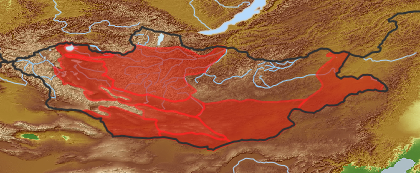 taxon distribution for Aristida  acc. to Geobotanical Regions of Mongolia by Grubov (1955)