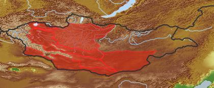 taxon distribution for Artemisia sphaerocephala acc. to Geobotanical Regions of Mongolia by Grubov (1955)