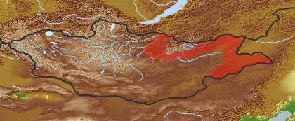 taxon distribution for Achyroseris  acc. to Geobotanical Regions of Mongolia by Grubov (1955)
