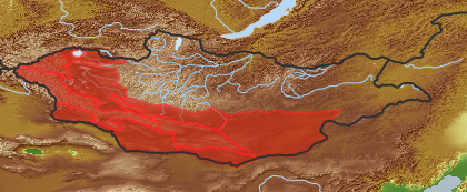taxon distribution for Acroptilon  acc. to Geobotanical Regions of Mongolia by Grubov (1955)