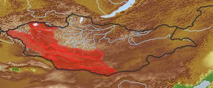 taxon distribution for Sajanella monstrosa acc. to Geobotanical Regions of Mongolia by Grubov (1955)
