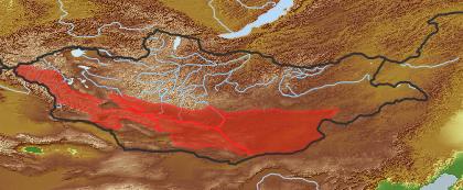 taxon distribution for Brachanthemum mongolicum acc. to Geobotanical Regions of Mongolia by Grubov (1955)