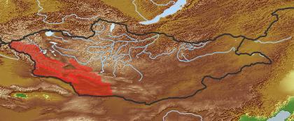 taxon distribution for Kaschgaria komarovii acc. to Geobotanical Regions of Mongolia by Grubov (1955)