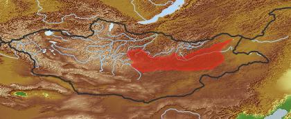 taxon distribution for Taraxacum bessarabicum acc. to Geobotanical Regions of Mongolia by Grubov (1955)