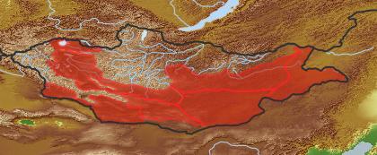 taxon distribution for Ferula bungeana acc. to Geobotanical Regions of Mongolia by Grubov (1955)