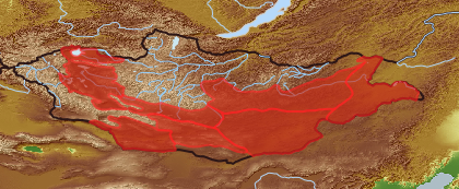 taxon distribution for Scorzonera divaricata acc. to Geobotanical Regions of Mongolia by Grubov (1955)