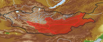 taxon distribution for Olgaea leucophylla acc. to Geobotanical Regions of Mongolia by Grubov (1955)