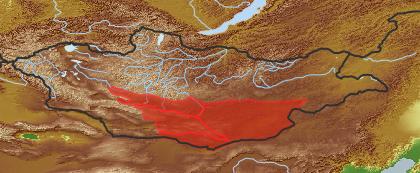 taxon distribution for Tugarinovia mongolica acc. to Geobotanical Regions of Mongolia by Grubov (1955)